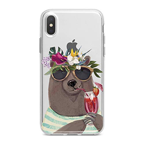 Lex Altern TPU Case for iPhone Apple Xs Max Xr 10 X 8+ 7 6s 6 SE 5s 5 Slim fit Print Cute Animal Grizzly Hilarious Smooth Gift Clear Flexible Girls Tropical Soft Lightweight Cover Design Women Bear