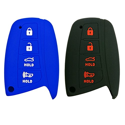Alegender Qty(2) 4-Button Smart Key Fob Case Cover Holder Skin for for 2015-2016 Hyundai Genesis 2016 2017 2018 Santa Fe 2014 2015 Equus 2015 Azera Black Blue