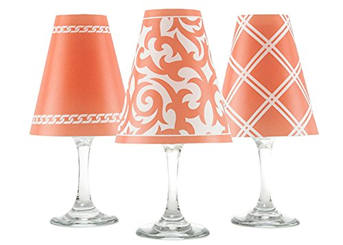 di Potter WS433 Santa Barbara Paper White Wine Glass Shade, Coral (Pack of 6)