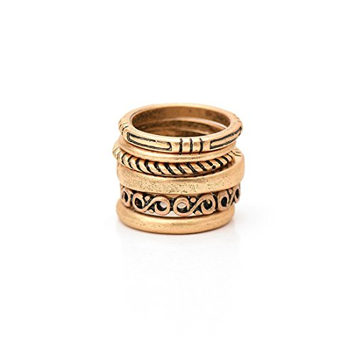 Fettero Ring Vintage DIY Womens Boho above Knuckle Stack Nail Joint Band Midi Mid Finger Tip Flower Carved Set of 6 Gold