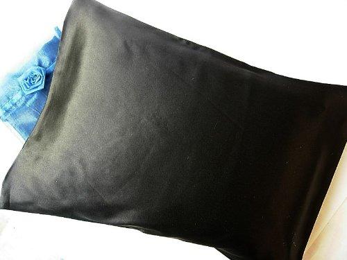 Black 100% Silk Pillowcase Travel Size 12x16