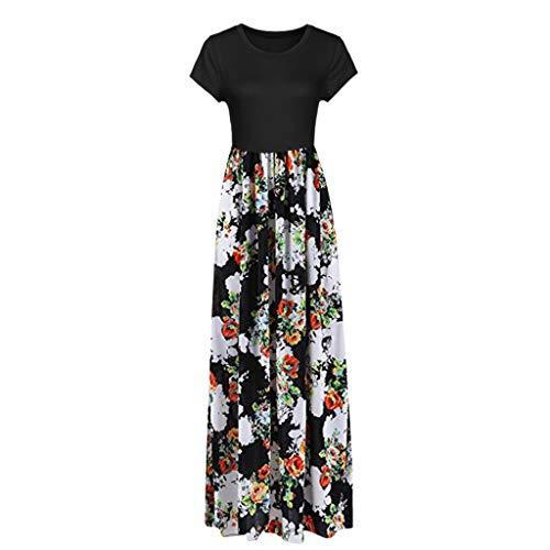 HunYUN Women's Short Sleeve Racerback Loose Floral Print Tank Long Maxi Summer Slim fit - Console Maxi Light
