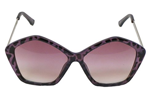 Corona Collection 5 Sided Sunglasses with Leopard Print (Dark Purple)