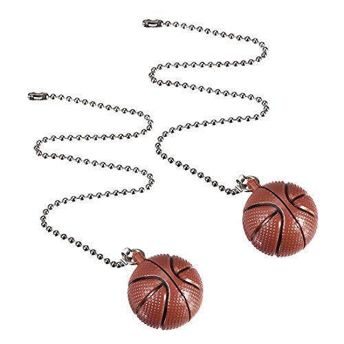uxcell Basketball Pendant 12 inch Silver Tone Pull Chain for Lighting Fans Pack of 2