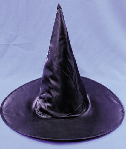 Fun World Women's Taffeta Witch Hat Costume Accessory Accessory, -black/black, Standard
