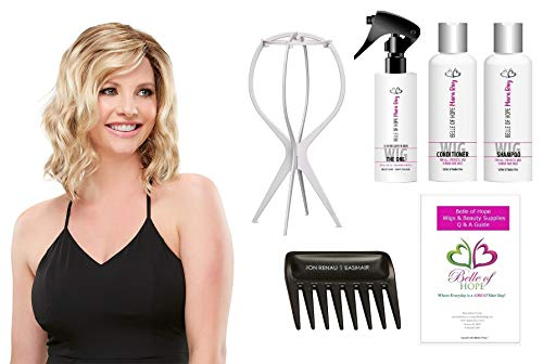 (Julianne Synthetic Single Mono HandTied Wig by Jon Renau,Stand,Comb,Mara Ray 4oz Luxury Detangler/Shamp/Cond,19 Page Belle of Hope Wig Care Booklet-Bundle 7pc (27T613S8) )