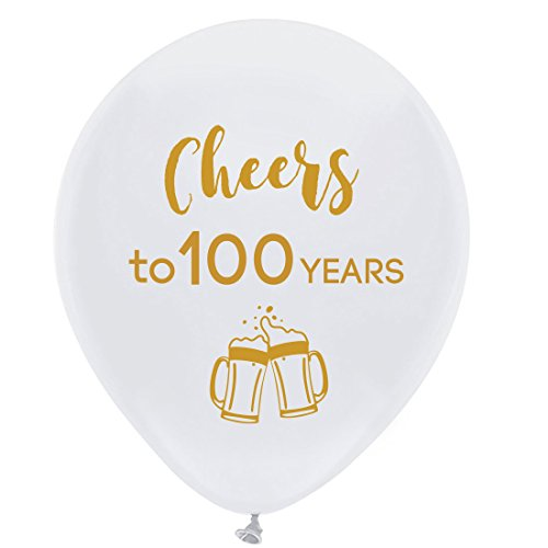 100th Birthday Balloons (White cheers to 100 years latex balloons, 12inch (16pcs) 100th birthday decorations party supplies for man and)
