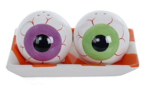 Eyeball Halloween Salt & Pepper Shakers with Tray -