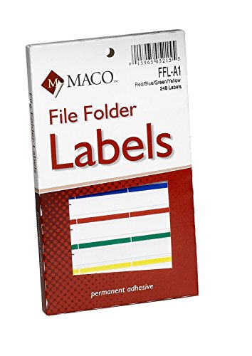 MACO Assorted Primary File Folder Labels, 9/16 x 3-7/16 Inches, 248 Per Box - A1 Blank Canvas