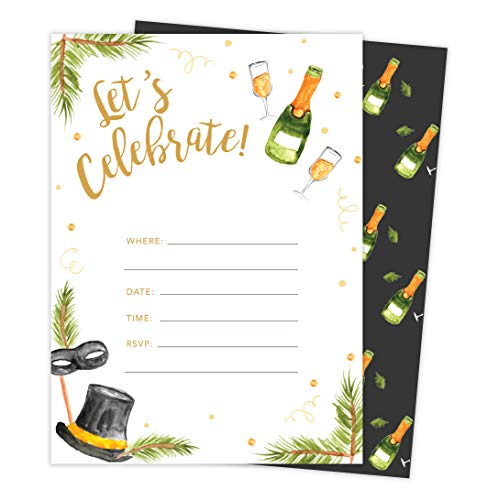 New Years Eve #3 Holiday Season Party Gathering Invitations Invite Cards (25 Count) With Envelopes & Seal Stickers Vinyl Party (25ct) ()