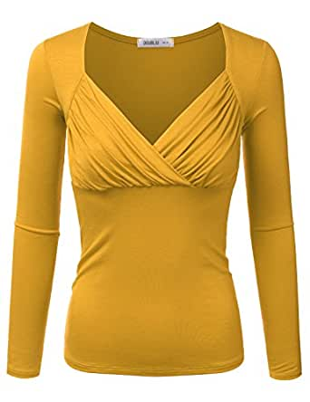 Doublju Slim Fit Deep V-Neck Ruched Blouse Top (Made In USA / Plus
