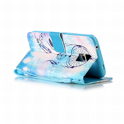 Yiizy Samsung Galaxy S5 G900 Funda, Noche Campanula Diseño Solapa Flip Billetera Carcasa Tapa Estuches Premium PU Cuero Cover Cáscara Bumper Protector Slim Piel Shell Case Stand Ranura para Tarjetas E