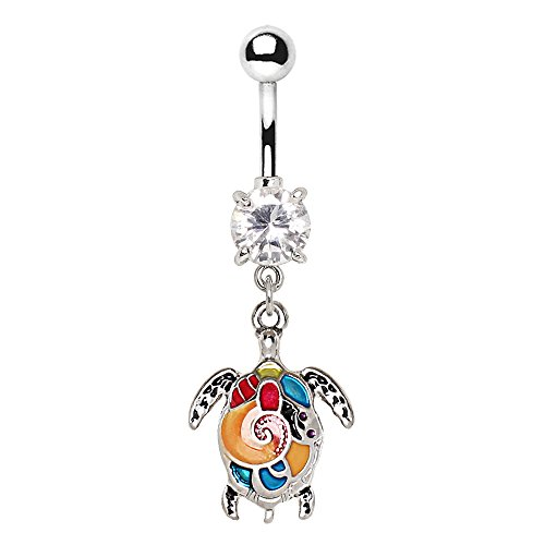 Cocobul Body Jewelry Aloha Enameled Sea Turtle Dangle Belly Button Navel Ring ()