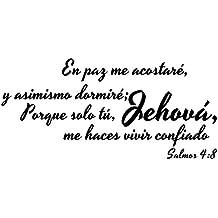 Vinilo Decorativo Para Pared En Paz Me Acostaré Y Asimismo Dormiré Porque Solo Tú Jehová
