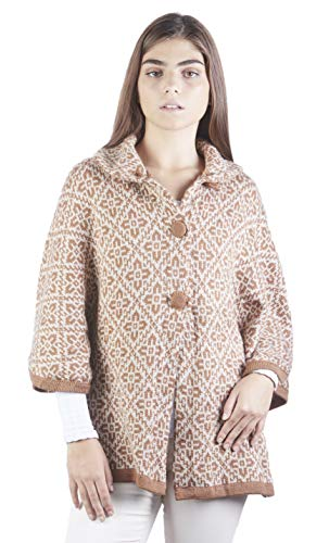 Knit Wool Wrap - Raymis Alpaca Wool Peruvian Women´s Hand Knit Ruins Button Poncho Cape Wrap (Beige)