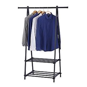 Finnhomy Heavy Duty Black Metal Coat Rack With 2-tier Storage Shelves For Garment Drying Entryway Organizer