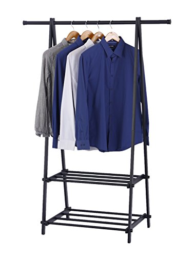 Finnhomy Black Metal Coat Rack One Layer Clothes Drying Rack