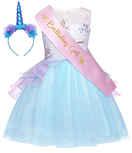HenzWorld Baby Girls Flower Mythical Costumes Cosplay Princess Dress up Birthday Pageant Party Dance Outfits Evening Gowns 1-2 Years