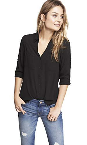 Express Women's Convertible Sleeve Portofino Shirt, Original Fit, Pitch Black 58, XS from Express