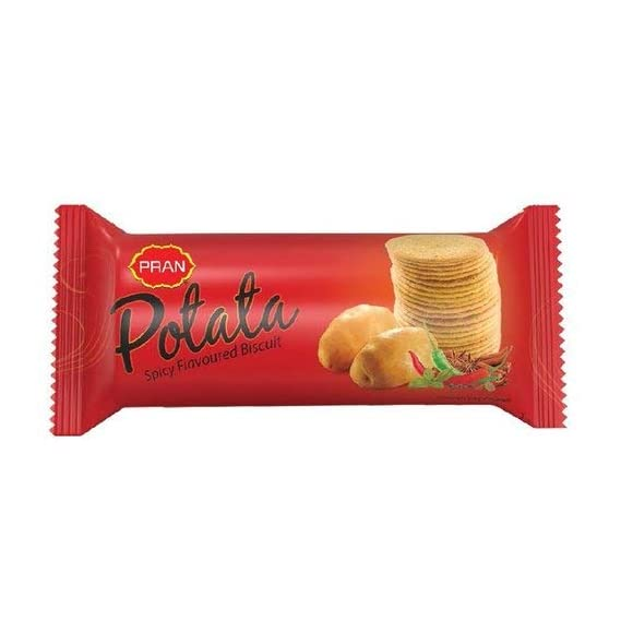 Pran Spicy Biscuits -Potata 4 Packs of 100 Grams Each Original Imported