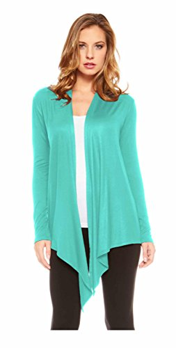 Red Hanger Women's Light Weight Open Front Drape Cardigan Sweater Made in USA Seafoam S