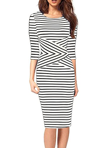 White Striped Sleeveless Dress - SYLVIEY Women's Summer Striped Sleeveless Wear To Work Casual Party Pencil Dress (Large, White-3/4 Sleeve)