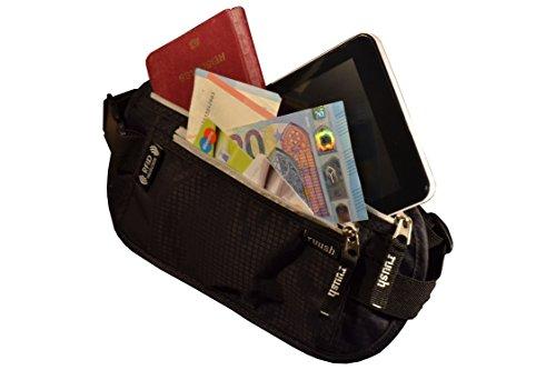 Reise Bauchtasche mit RFID -Blockierung, Flach, Wasserdicht, für Damen und Herren, ideal für Reisen, Event-besuche oder Sport, genügend Platz für Reisepass, Smartphone, Geldbörse etc.