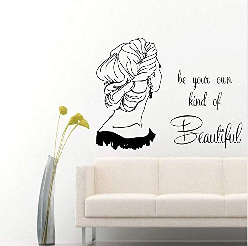 pbldb Wall Vinyl Decal Sticker Girl Quotes Beauty Hair Salon Art Interior Decor Home Decor Nursery Kids Room Cute Cartoon58X44 cm -