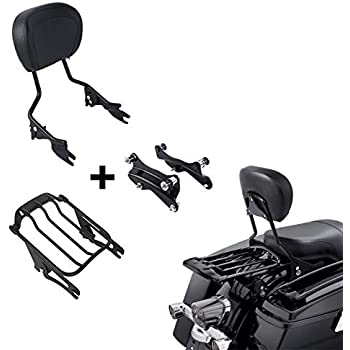 Black Sport Luggage Rack Compatible With 2018-2020 Harley Holdfast Sissy Bar Fat Boy Breakout SMT