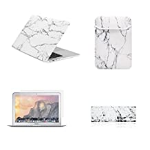 "Unik Case-4 in 1 13 Inch Marble Rubberized Hard Case,Screen Portector,Sleeve Bag & Silicone Skin for Macbook 13"" Air A1369/A1466 Shell Cover-White"
