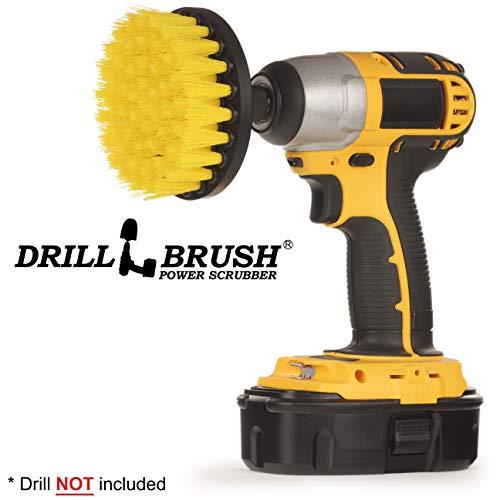 Drillbrush 4 Inch Diameter Power Spinning Detailing Nylon Scrub Brush with Quarter Inch Quick Change Shaft