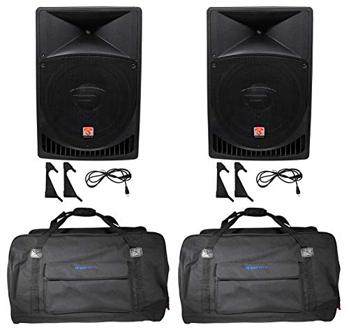 "(2) Rockville RPG15 15"" Powered 2000w DJ PA Speakers+Weatherproof Speaker Bags"