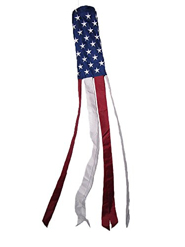 ALBATROS 60ft Embroidered U.S. USA American Flag WindSock 100% Polyester Windsock U.S.A. for Home and Parades, Official Party, All Weather Indoors Outdoors ()