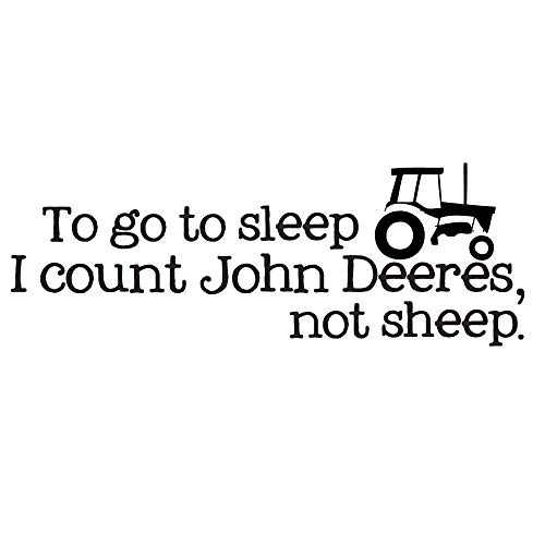 "Homefind Wall Decals to GO to Sleep I Count John DEERES Inspiring Quotes Art Decal Inspirational Lettering Sayings Stickers Vinyl House Decor Bedroom Living Room Decoration (23"" w x 10"" h)"