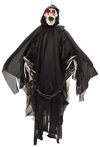 Prextex Animated Skeleton Ghost Halloween Decoration with Glowing Red Eyes, -