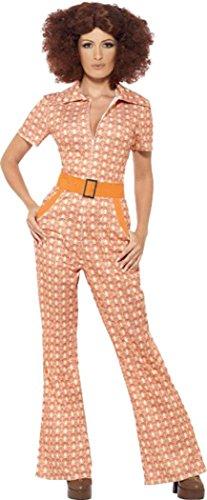 Womens Authentic 70s Chic Costumes (Authentic 70's Chic Costume Orange Uk Dress 12-14)