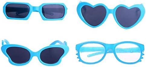 Perfeclan 人形 装飾 サングラス 眼鏡 フレームグラス メガネ 18インチドール用 プラスチック製 4点