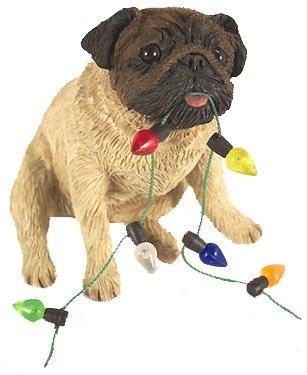 Sandicast Pug with Lights Holiday Ornament