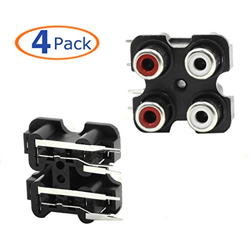 Conwork 4-Pack PCB Mounted AV Concentric Outlet 4 RCA Female Jack Video AV Socket Right Angle Connector