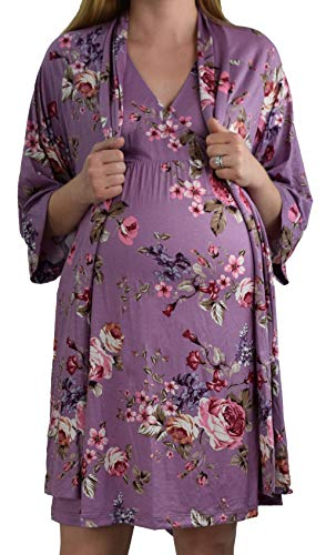 Nightgown Sets Robe - Embrace Your Bump 2 in 1 Super Soft Maternity & Nursing Nightgown & Robe Set (Lilac Floral, Large)