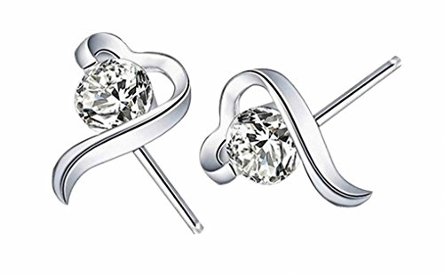 925 silver women earrings_wedding jewellery bride bridal earrings_ gifts sterling silver earrings heart earrings_ cubic zirconia earrings silver stud earrings