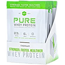 PURE Whey Protein Powder (Chocolate) by SFH | Best Tasting 100% Grass Fed Whey | All Natural | 100% Non-GMO, No Artificials, Soy Free, Gluten Free | Single Serve 10 Count