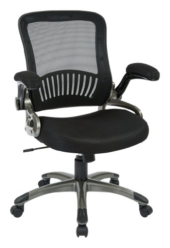 Office Star Breathable Screen Back and Bonded Leather Seat Managers Chair with Flip Arms and Titanium Coated Accents, Black