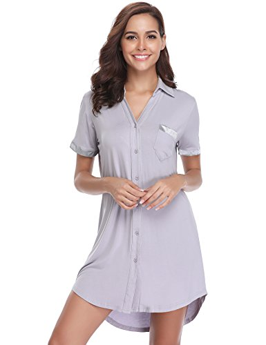 Hawiton Women V Neck Nightshirt Short Sleeve Nightgown Button Front Pajamas Dress Shirts Gray ()