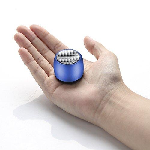 WONGKUO Mini Bluetooth Speaker Wireless Portable Speaker Small Body Loud Voice Selfie Romote Shutter Button Pocket Size (Blue)