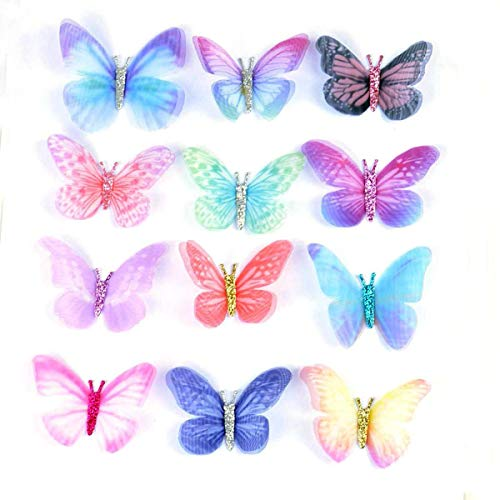 12 Pieces Mixed Colors Double Side Organza Fabric Butterfly for Beading, Hat Making,Hair Crafts Making, Jewelry Making, Kids' Crafts Making