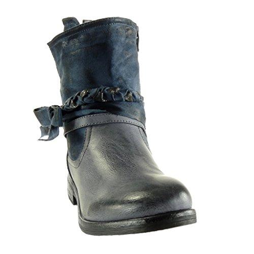 Heel Scarpe Vintage Stile Stivaletti Cm Perizoma Booty Cavalier Biker Da Block Nodo Donna Angkorly 3 Blu Intrecciato pdwSqOq