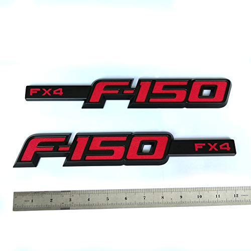 2pcs OEM F-150 Fx4 Emblem Badge Fender Nameplate 3D Logo Replacement for F150 Black Red Origianl Size Genuine Parts Cl3Z-16720-B