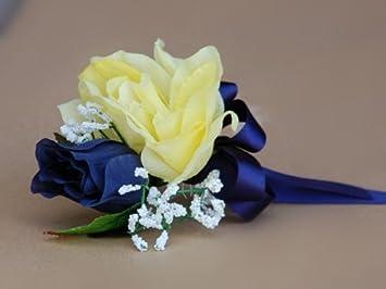 Blue rose Boutonniere Silk Prom Boutonniere Navy blue Wedding boutonniere