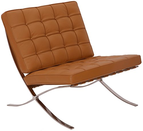 Price comparison product image MLF Pavilion Chair (5 Colors). Italian Leather, High Density Foam Cushions & Seamless Visible Corners. Polished Stainless Steel Frame Riveted with Cowhide Saddle Straps.(Light Brown/Tan)